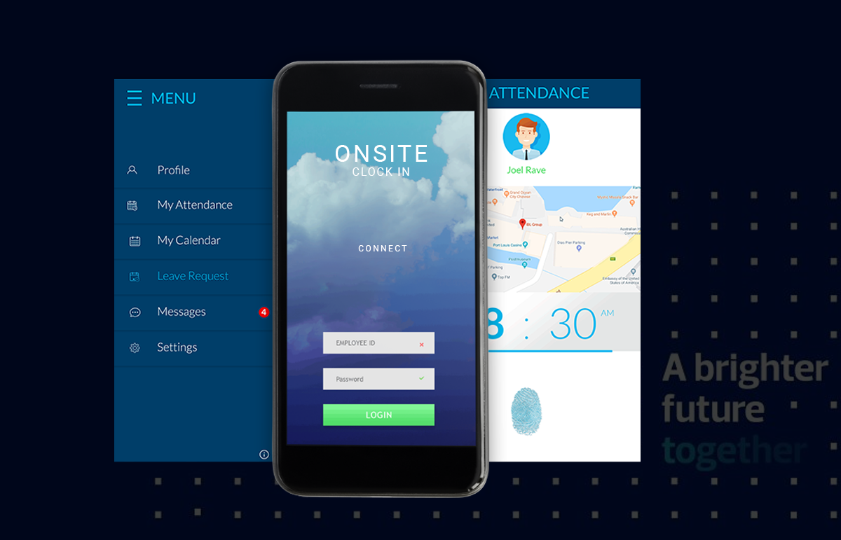 Mobile App: OnSite Clock In – UI Design